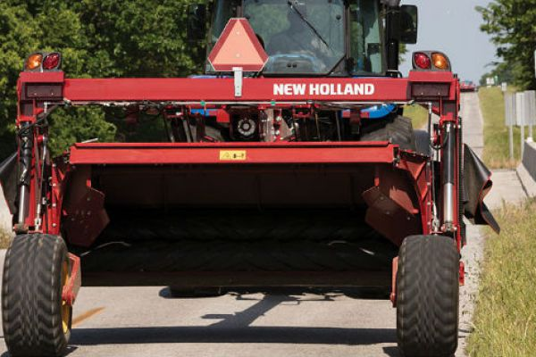 New Holland | Discbine® 310/312 Center-Pivot Disc Mower-Conditioners | Model Discbine® 312 (Chevron Rubber) for sale at Sorum Tractor Co., Inc.